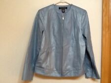 Womens Dialogue Leather Jacket Size Small Shimmering Light Blue NWOT