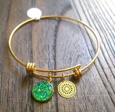 Stainless Steel Gold Adjustable Bangle with Green Sparkly Faux Druzy Charm