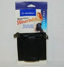 NOS Vtg Motorola StarTAC Black Leather Purse Pak Wallet Retro Flip Phone Case