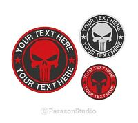 All Sizes - Custom Embroidered Punisher Skull MC Biker Sew on Round Patch