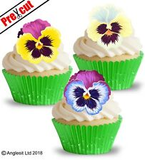 PRE-CUT PANSIES II. EDIBLE WAFER PAPER CUP CAKE TOPPERS FLOWER PARTY DECORATIONS