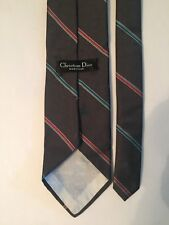 "Christian Dior Mens Necktie 55"" Gray with Red and Blue Stripes"