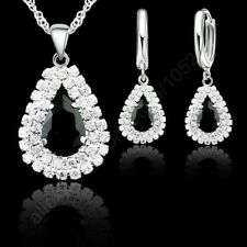 925 Sterling Silver Rhinestone Black CZ Crystal Pendant Necklace And Earring Set