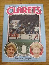 15/02/1983 Football League Cup Semi-Final: Burnley v Liverpool  (Team Changes).