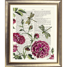ART PRINT ON ANTIQUE DICTIONARY PAGE Rose Dragonfly Vintage Botanical Picture