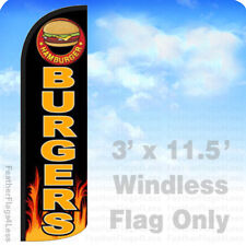 BURGERS - Windless Swooper Flag 3x11.5 Feather Banner Sign - kq