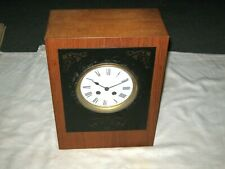 Mid Century Modern Style French Japy Freres Walnut & Marble Inlay Mantle Clock