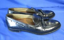 FACONNABLE Black Leather TASSEL LOAFERS DRESS SHOES Italian Super Prime 10 B