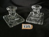 """2 Vintage Cut Glass Candle Stick Holders 2.5""""H / Pair Good Quality Candle Sticks"""