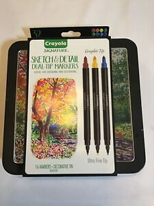 New Crayola Signature Sketch & Detail Dual-Tip Markers W/Tin Assorted Colors