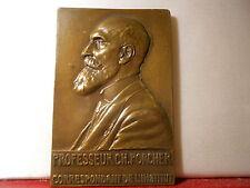 1931 RARE MÉDAILLE BRONZE PROF PORCHER CHIMIE BIOLOGIQUE RECHERCHE LAIT REVUE
