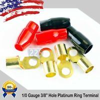 "0 Gauge GOLD Ring Terminal 4 Pack 1/0 AWG Wire Crimp Black and Red Boot 3/8"" USA"