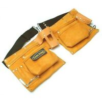 Yellow Toolzone 10 Pocket Heavy Duty Double Leather Tool Pouch With Web Belt -