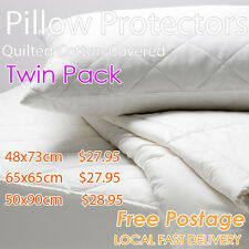 2 x Padded Quilted Cotton Standard Pillow Protector Cover Pillowcase-48x73cm