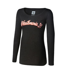NIB Authentic WWE Women's WrestleMania 31 M Long Sleeve Tee 100% Cotton WM Shirt