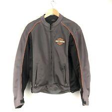 Harley Davidson Mens Mesh Motorcycle Jacket Gray Black Orange Padded Size M