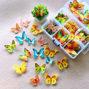 100/360pcs Mixed Butterfly Flowers Edible Glutinous Wafer Rice Paper Cake Topper