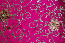 NW Bollywood Heavy Sequin Embroidery Sari Saree Belly Dance Curtain Dress Fabric