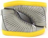 Cipher Radial Men's High Top Leather Trainers Silver Optic Yellow Various Sizes