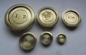Part Mixed Set Antique/Vintage Brass Postal Weights - 1/2 oz - 1 lb