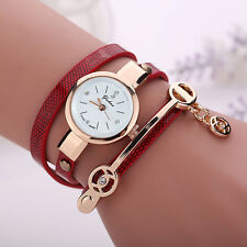 Fashion Women's Ladies Watch Stainless Steel Leather Bracelet Wrist Watches RED