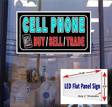 Cell Phone Buy Sell Trade Led window sign 48x24 neon banner alternative