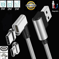 3/6/10FT 90°Elbow USB-C Micro USB Magnetic Charger Transfer Cable For Samsung S8