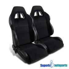 2pcs JDM Black PVC Leather GT Full Reclinable Buckle Racing Seats w/ Slider