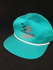 Vtg 80's Western Auto Racing Snapback Baseball Hat Adjustable Teal 100% Cotton