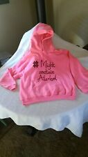 # Might Contain Alcohol Pink Sweatshirt Ladies Large Pre-Owned Worn Once Excelle
