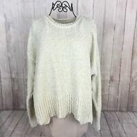 Cynthia Rowley Women's Size Medium Ivory Long Sleeve Soft Crewneck Sweater