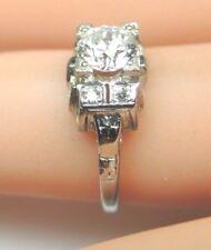 Antique Art Deco Vintage Diamond Engagement 18K White Gold EGL USA Ring Size 4.5