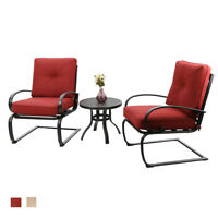 PHI VILLA Patio Rocker Bistro Chairs and Side Table Furniture Set with Cushioned