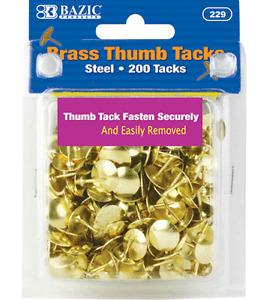 200 pins/pack Brass Gold Steel Thumb Tacks Push Pins Bazic #229