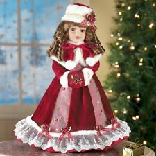 "Christmas Porcelain Doll in Red Velvet Dress 16"" Holiday Collector Doll NEW"