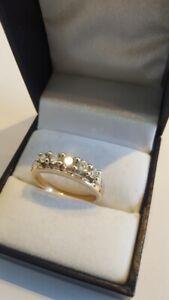 Ring Gold 585 14 Karat 5 lupenreine Brillanten zus. ca. 0,60 ct. Größe 56