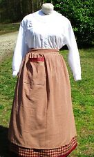 CIVIL WAR DRESS COVER VICTORIAN BURGUNDY/TAN HOMESPUN PLAID COTTON ARPON~PLUS SZ