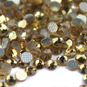 Golden Shadow Hotfix Iron On Glass Rhinestones Flat Back Crystals Diamante Gems