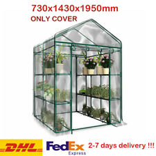 Walk In Greenhouse With Double Shelves PVC Cover Removable Outdoor Garden Grow