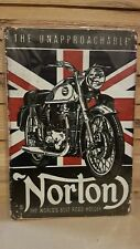 Vintage METAL SIGN, Rustic Look - NORTON Motorcycle - NEW in Slip, Home decor