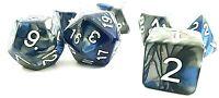 RPG Würfel Set 7-teilig Poly DND Blau dice4friends w4-w20 Rollenspiel Grau Top
