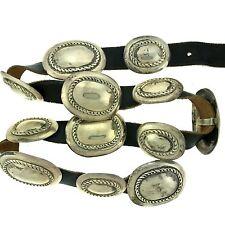 "Native American Sterling Silver Twist Oval Concho Belt 32"""
