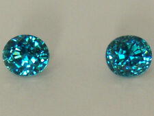 Genuine Blue Zircon Pair 2=5.36 Ct. T.W. Oval Very Fine Color And Cut