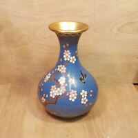 Vintage CLOISONNE VASE ~ BLUE Flowers + Bird ~ People's Republic of China