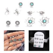 5 Pairs/set Gift Dragonfly Leaves Turquoise Lotus Flower Stud Earrings Set