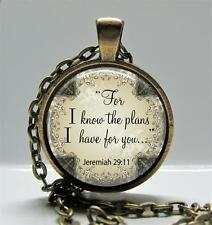 Religious Pendant Charm or Keychain Scripture Jeremiah 29:11 God Knows Plans