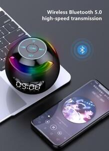 Mini Portable Bluetooth Speaker Round with Alarm Clock LED Colorful Led Light