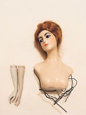 """ANTIQUE / VINTAGE RED HAIRED WAX BOUDOIR DOLLS HEAD BUST AND ARMS 5"""""""