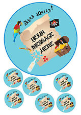 "Pirate party themed personalised cake topper 7.5"" round & toppers A4 icing sheet"