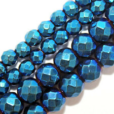 MAGNETIC HEMATITE BEADS FACETED SAPPHIRE BLUE PLATED 6MM ROUND STRANDS FMH6